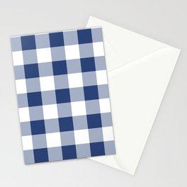 Navy Gingham Pattern Stationery Cards