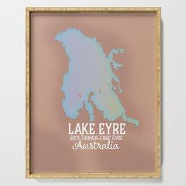Lake Eyre Australia map poster Serving Tray