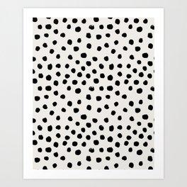 Preppy brushstroke free polka dots black and white spots dots dalmation animal spots design minimal Kunstdrucke