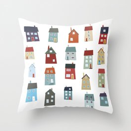 Little Houses Throw Pillow