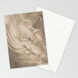 Pantone Hazelnut Flowing Pearlescent Haze, Opalescent Fluid Art Stationery Cards