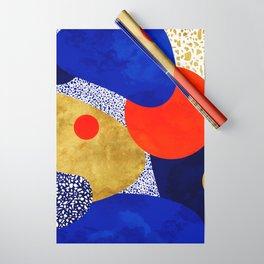 Terrazzo galaxy blue night yellow gold orange Wrapping Paper