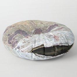 African Prehistoric Rock Art Painting People Hunting Floor Pillow