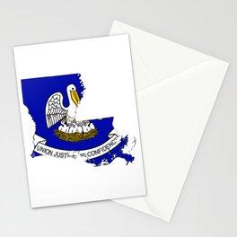 Louisiana Map with Louisiana Flag Stationery Cards