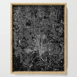 Columbus Black Map Serving Tray