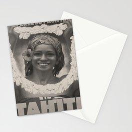 vintage placard Tahiti voyage poster Stationery Cards