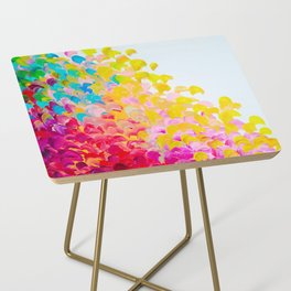 CREATION IN COLOR - Vibrant Bright Bold Colorful Abstract Painting Cheerful Fun Ocean Autumn Waves Side Table