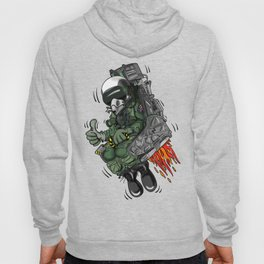Military Fighter Jet Pilot Ejection Seat Cartoon Illustration Hoody