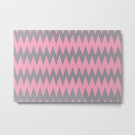 Zigzag Line Pattern Color of the Year 2021 Ultimate Gray 17-5104 and Prism Pink 14-2311 Metal Print