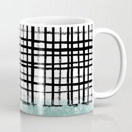 Mila - handpainted grid lines crosshatch weave with mint sage stripe minimalist nursery Coffee Mug