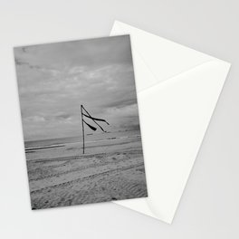 A flag can wave all day - Scheveningen The Hague Netherlands photo   Black and white monochrome noir beach ocean wind minimal nature photography art print Stationery Cards