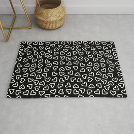 Little White Line Drawing Hearts Rug