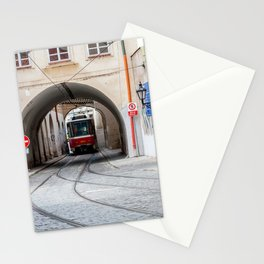 Tramway in old town of Prague Stationery Cards