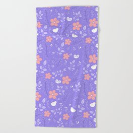 Cute bird and flower pattern Beach Towel