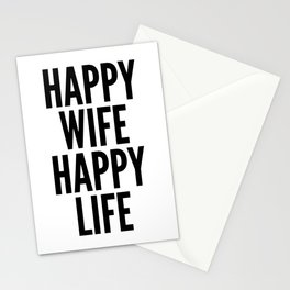 Happy Wife Happy Life Quote Stationery Cards