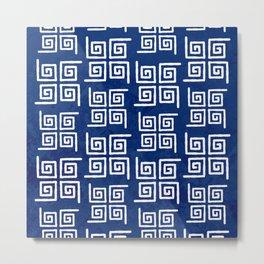 Deep Blue Bohemian Patterns Metal Print