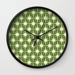 Atomic Age Starbursts - Midcentury Modern Pattern in Cream and Retro Green Wall Clock