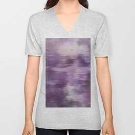 Purple Fusion Illustration Digital Camo Watercolor Blend Fluid Art Unisex V-Neck