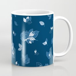 Classic Blue Roses at Midnight Coffee Mug