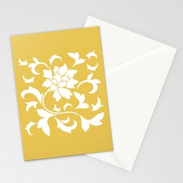 Oriental Flower - Mustard Yellow Stationery Cards