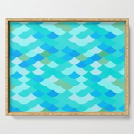pattern scales, wave abstract simple Nature background mermaid Serving Tray