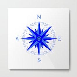 Sailing - Wind Rose Compass Nautical Shirt Metal Print
