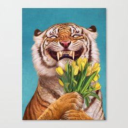 Smiling (shy) Tiger - holding bouquet (tulip) Canvas Print