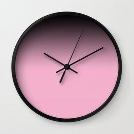 Ombre black pink white gradient soft colors blurred Wall Clock