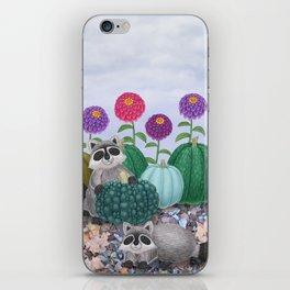 raccoons, heirloom pumpkins, & zinnias iPhone Skin