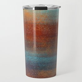 Rust & Turquoise Mint Patina  _Abstract Brush Strokes Painting collection Travel Mug