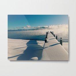 Snowy Pier Metal Print