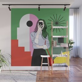 The magic of colours. Aesthetic wall art of young girl taking a selfie with her mobile phone Wall Mural