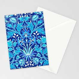 William Morris Hyacinth Print, Navy and Cobalt Blue Stationery Cards