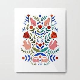 Folk Cats - White Metal Print