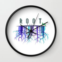 Root & a dog with Korean letters. Wall Clock