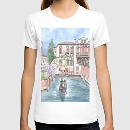 """Gondola in Venice"" Watercolor and Ink Illustration T-shirt"