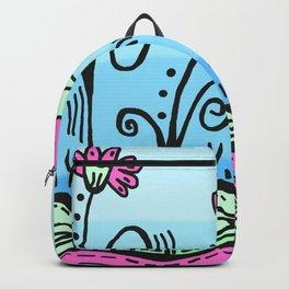 Three Spring Flowers - Blue Backpack