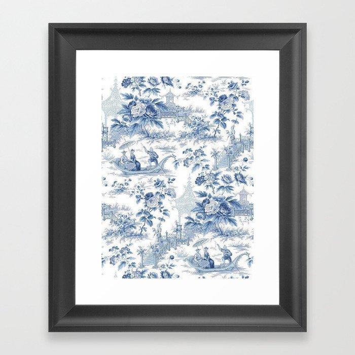 Powder Blue Chinoiserie Toile Gerahmter Kunstdruck