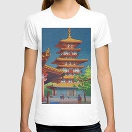 Japanese Woodblock Print Vintage Asian Art Colorful woodblock prints Pagoda Shinto Shrine T-shirt