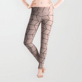 Geometric Diamond Pattern Neutral Pink Leggings