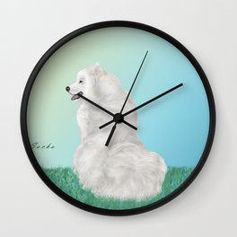 Sacha in Sunlight; Happy Samoyed. Wall Clock