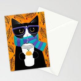 Tuxedo Autumn Coffee Cat Stationery Cards