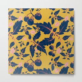 Tomatos and beetles - Pantone palete - yellow, blue, coral and gray Metal Print