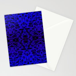 Mirror ornament of blue spots and velvet blots on black. Stationery Cards