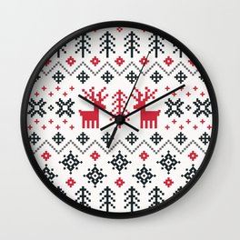 HOLIDAY SWEATER PATTERN Wall Clock