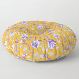 Watercolor Peonies - Sapphire Marigold Floor Pillow