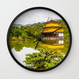 Kinkaku-ji or golden pavilion and pond, Kyoto Wall Clock