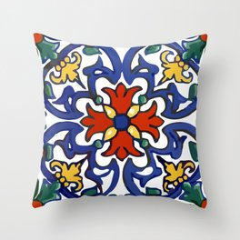 Talavera Mexican tile inspired bold design in blue, green, red, orange Deko-Kissen