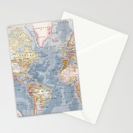 Vintage Map of The World (1900) Stationery Cards
