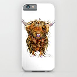 HiGHLaND CoW PRiNT SCoTTiSH ' HuMPHReY on WHiTe ' BY SHiRLeY MacARTHuR iPhone Case